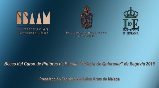 "Becas del Curso de Pintores de Paisaje ""Palacio de Quintanar"" de Segovia 2019"