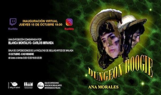 """Inauguración virtual exposición """"Dungeon Boogie"""" de Ana Morales. 15/10/2020, 19:30 hs., en Instagram @Kuriblu y en el canal Kuriblu de la plataforma de streaming Twitch."""